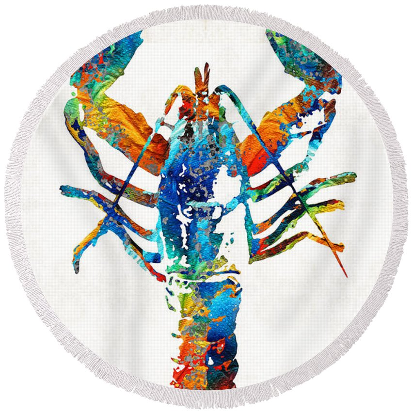 Lobster Round Beach Towel featuring the painting Colorful Lobster Art By Sharon Cummings by Sharon Cummings