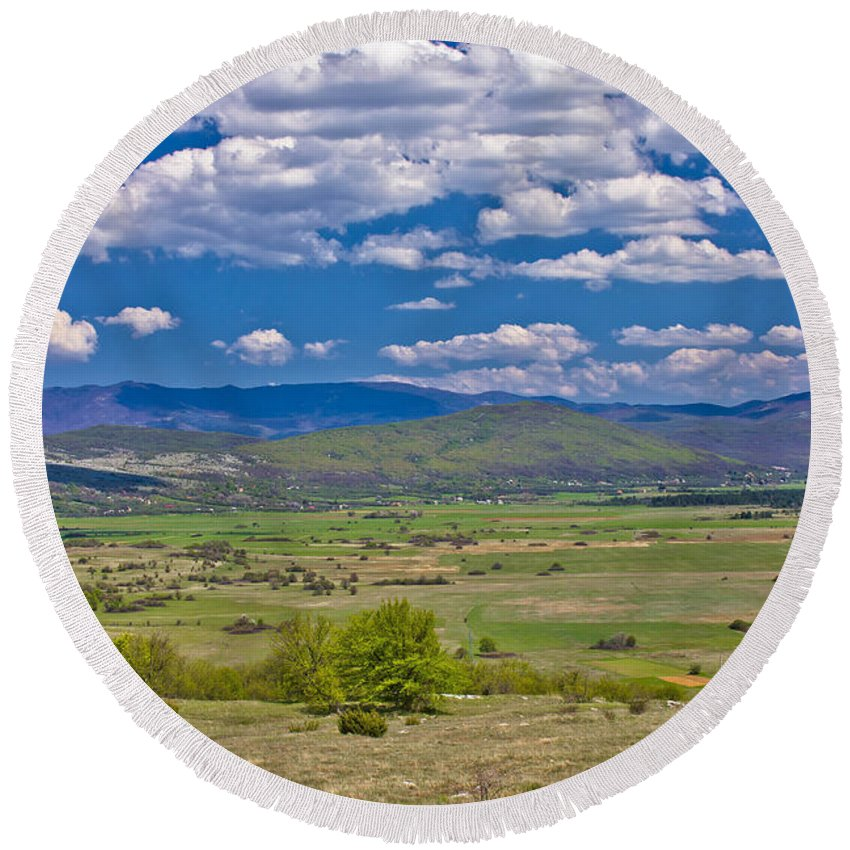 Landscape Round Beach Towel featuring the photograph Colorful Nature Od Lika Region by Brch Photography