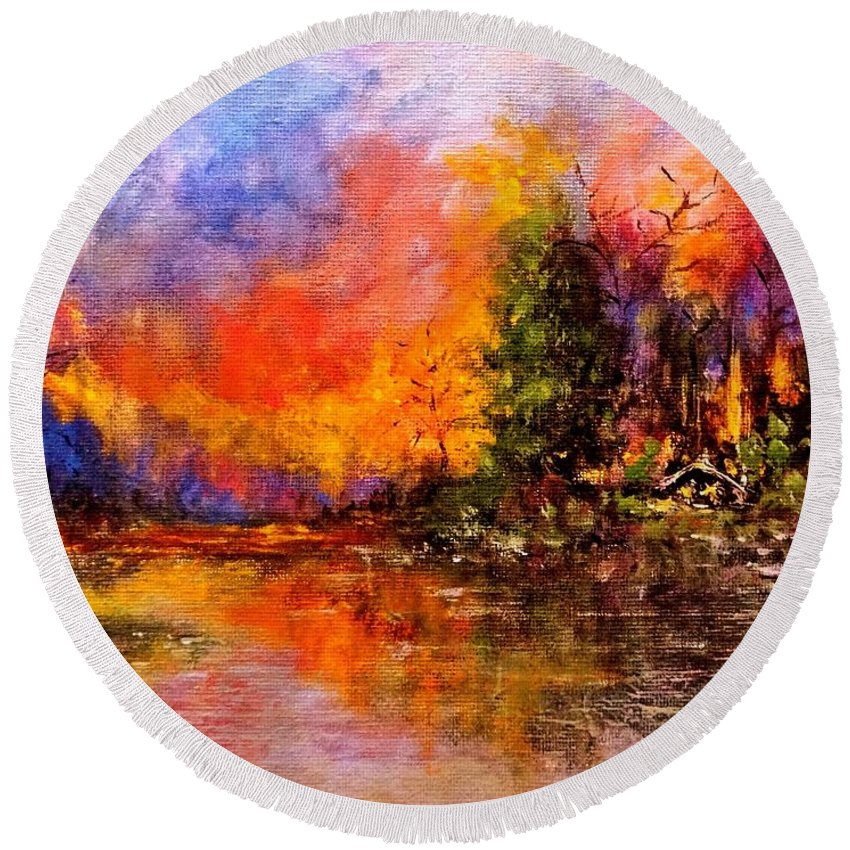 Landscape Round Beach Towel featuring the painting Colorful Night.. by Cristina Mihailescu