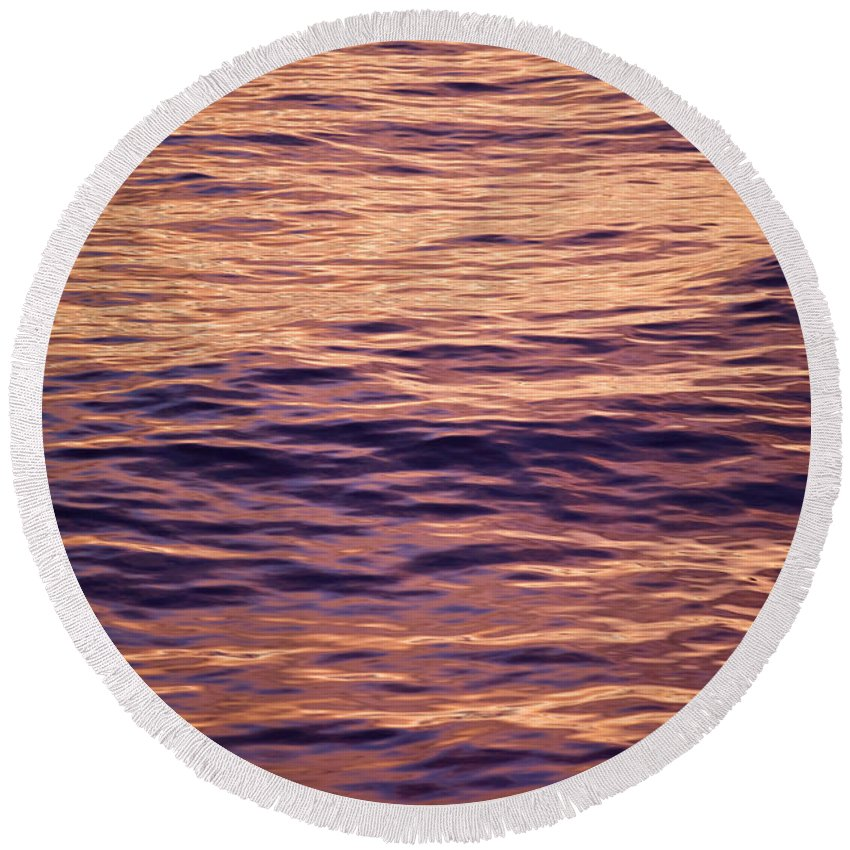 Absence Round Beach Towel featuring the photograph Colorful Ocean Water At Sunset by Jonathan Kingston