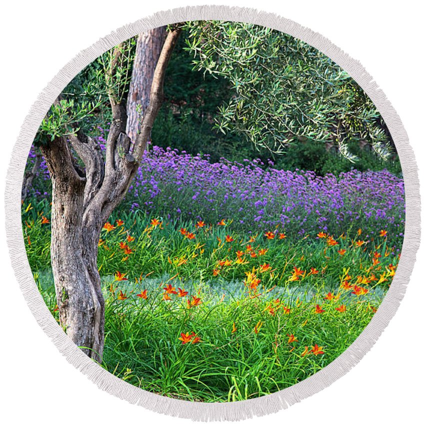 Park Round Beach Towel featuring the photograph Colorful Park With Flowers by Michal Bednarek