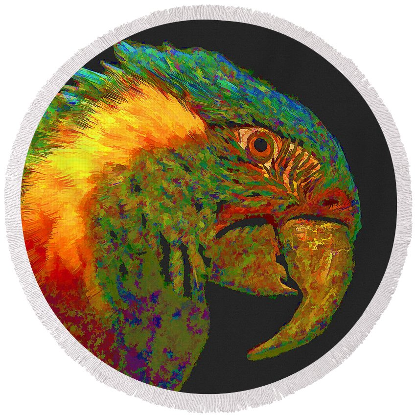 Parrot Round Beach Towel featuring the digital art Colorful Parrot by Ingrid Smith-Johnsen