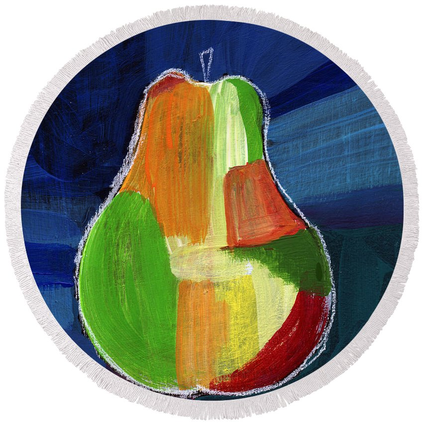 Pear Round Beach Towel featuring the painting Colorful Pear- Abstract Painting by Linda Woods