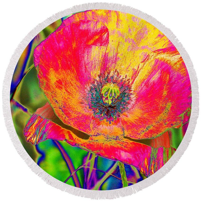 Poppy Round Beach Towel featuring the digital art Colorful Poppy by Carol Lynch