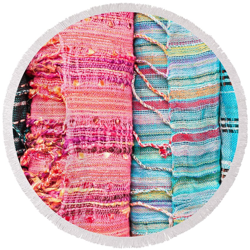 Accessory Round Beach Towel featuring the photograph Colorful Scarves by Tom Gowanlock