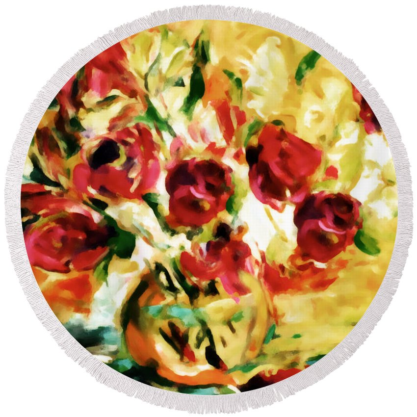 Abstract Round Beach Towel featuring the painting Colorful Spring Bouquet - Abstract by Georgiana Romanovna