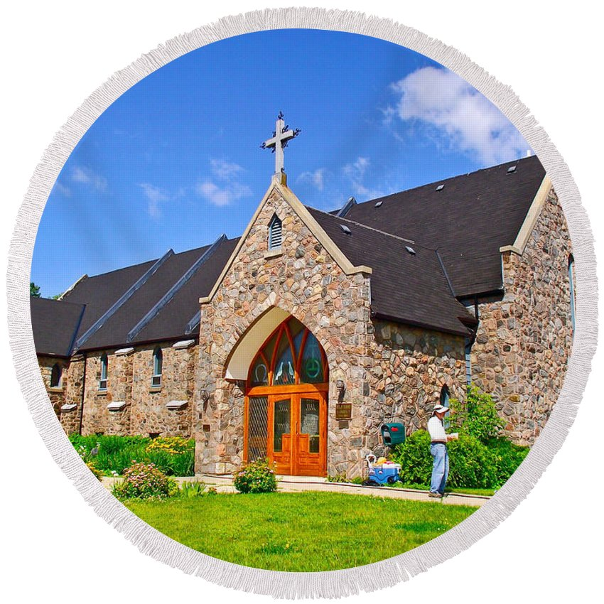 Colorful Stone Catholic Church In North Bay Of Lake Nipissing Round Beach Towel featuring the photograph Colorful Stone Catholic Church In North Bay Of Lake Nipissing-on by Ruth Hager