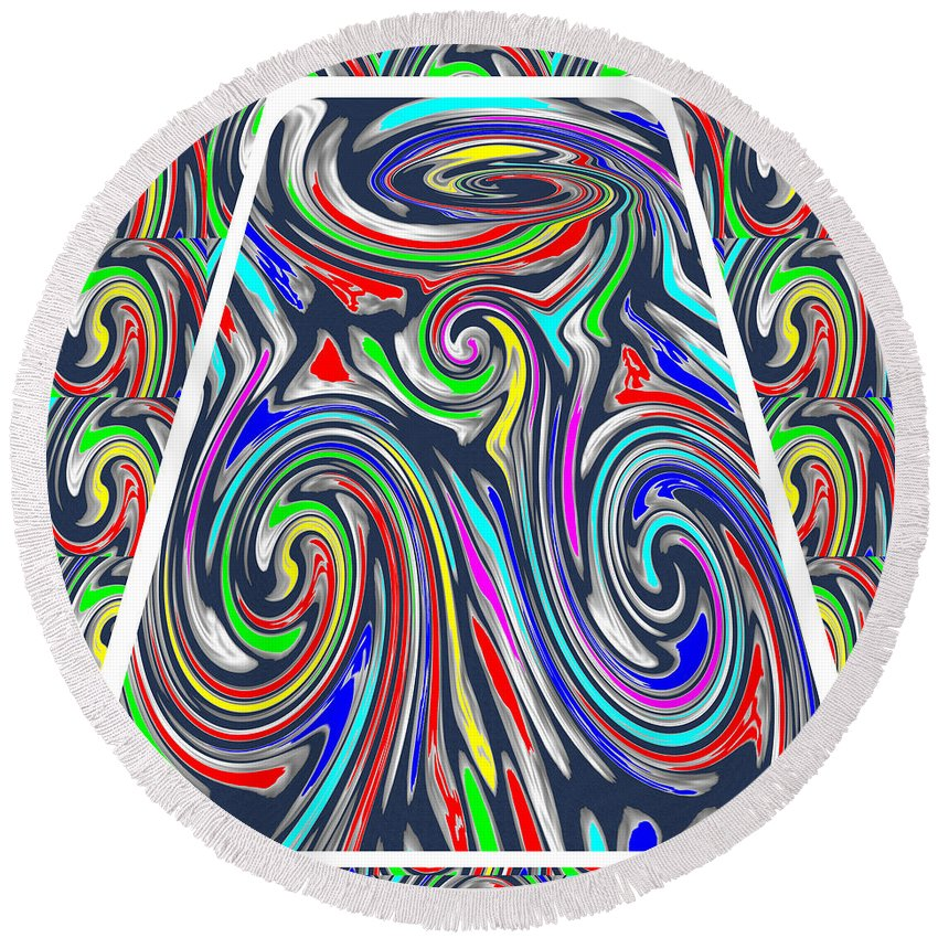 Colorful Round Beach Towel featuring the drawing Colorful Twirl Wave Shield Design Background Designs And Color Tones N Color Shades Available For D by Navin Joshi