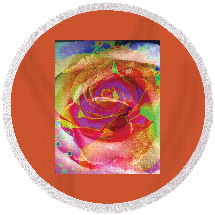 Rose Flower Round Beach Towel featuring the digital art Colorfull Rose by Yael VanGruber