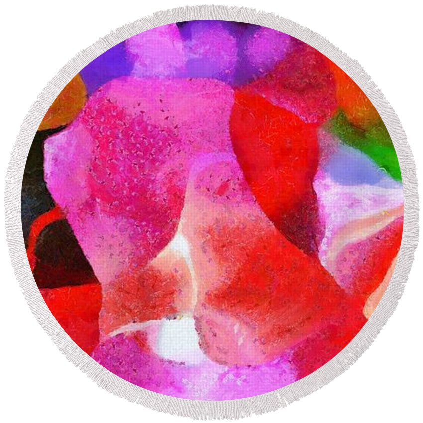 Colors Round Beach Towel featuring the digital art Colors by Catherine Lott