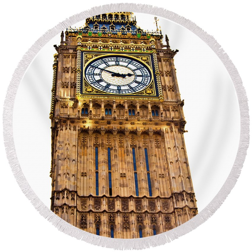 Big Ben Round Beach Towel featuring the photograph Colors Of Big Ben by Christi Kraft