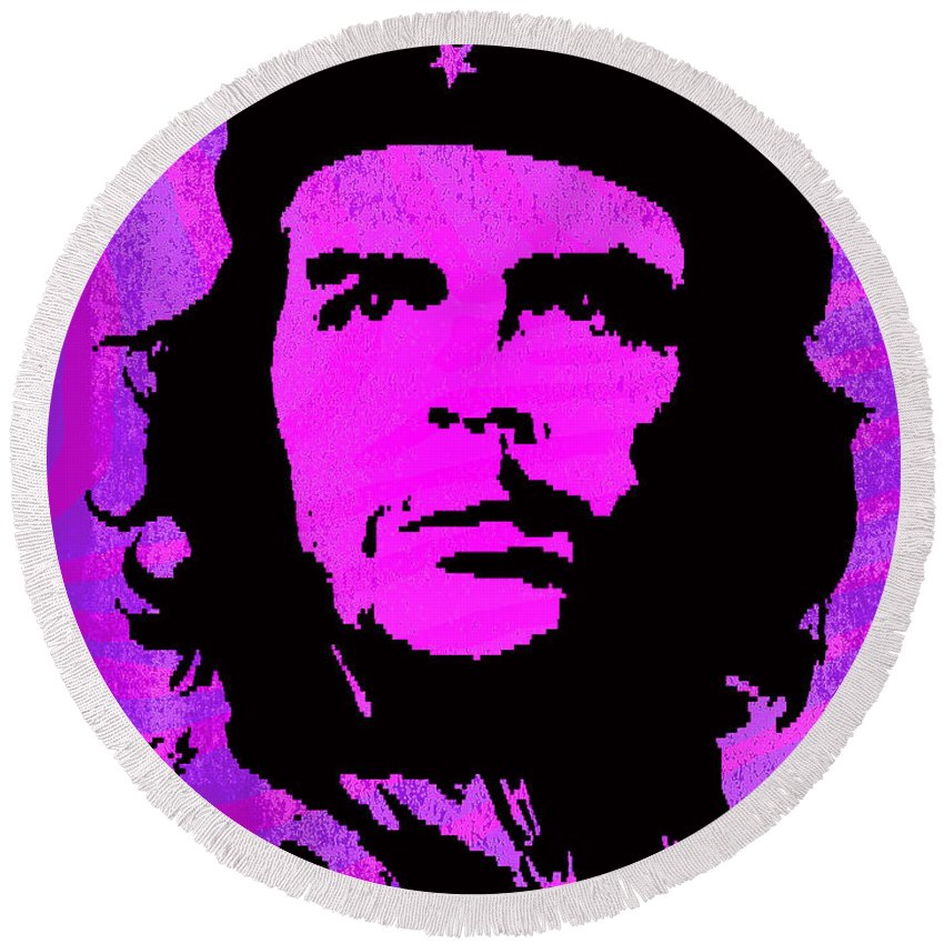 Che Guevara Round Beach Towel featuring the digital art Colors Of Che No.1 by Bobbi Freelance