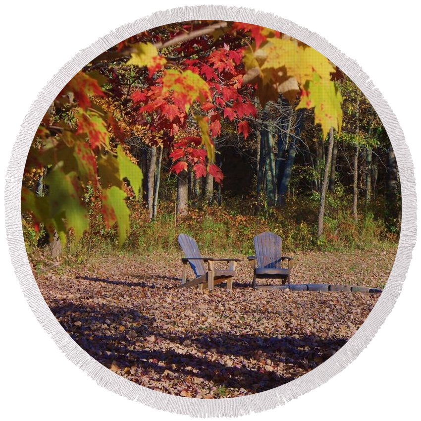 Fall Round Beach Towel featuring the photograph Colors Of Fall by Jane Harris