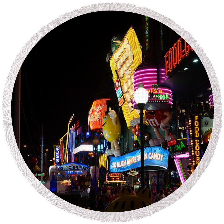 Neon Round Beach Towel featuring the photograph Colors Of Las Vegas by RicardMN Photography