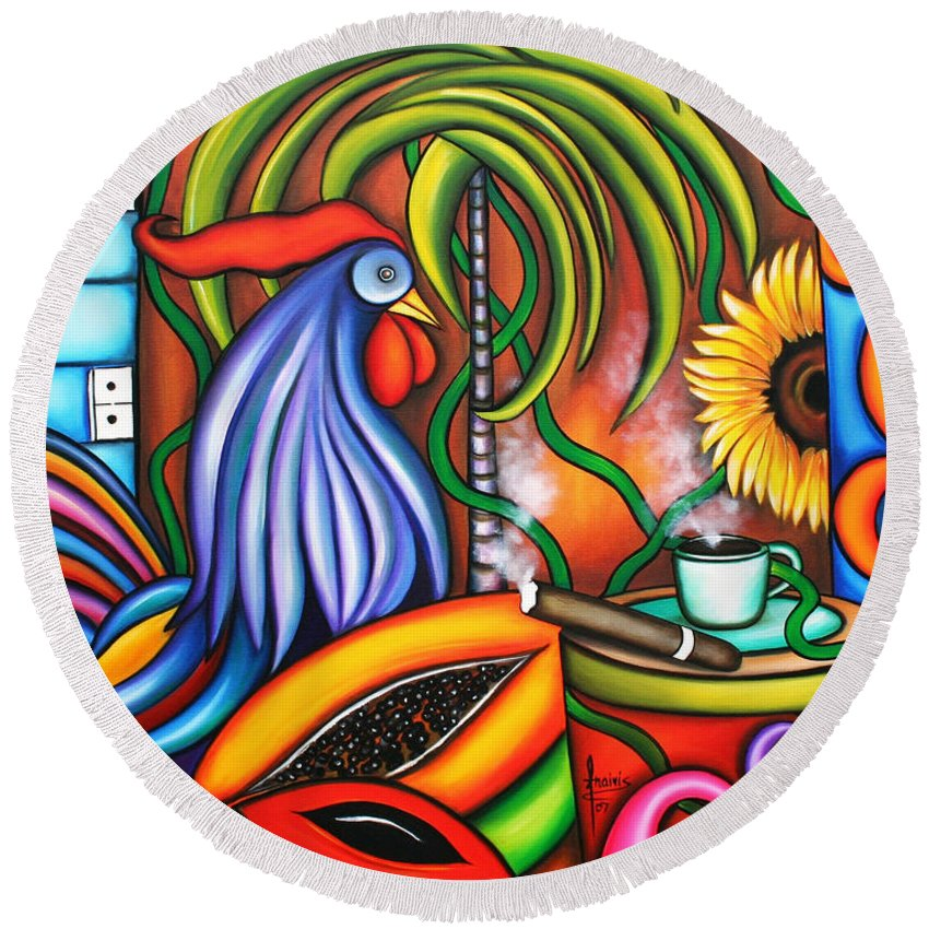 Cuba Round Beach Towel featuring the painting Colors Of My World by Annie Maxwell