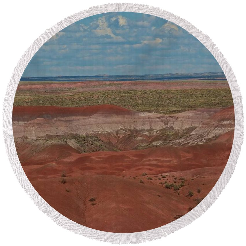 Painted Round Beach Towel featuring the photograph Colors Of The Desert by Brady Lane