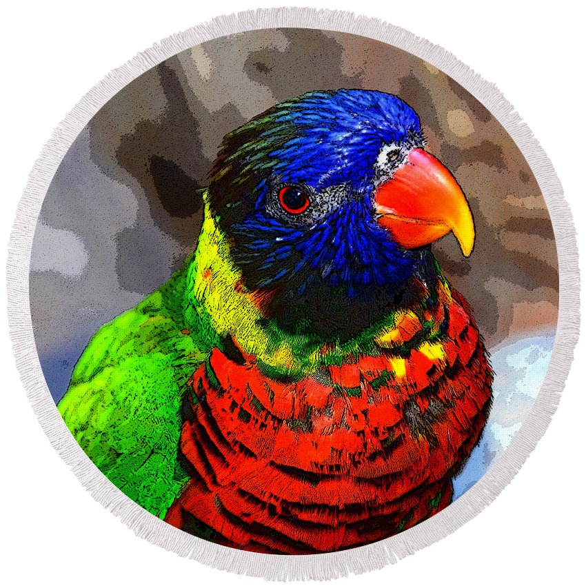 Art Round Beach Towel featuring the painting Colors Of The Lorikeet by David Lee Thompson