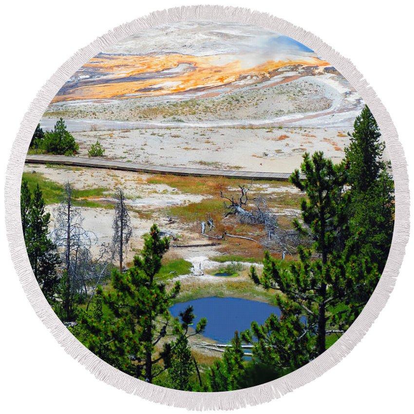 Yellowstone Round Beach Towel featuring the photograph Colors Of Yellowstone by Ausra Huntington nee Paulauskaite