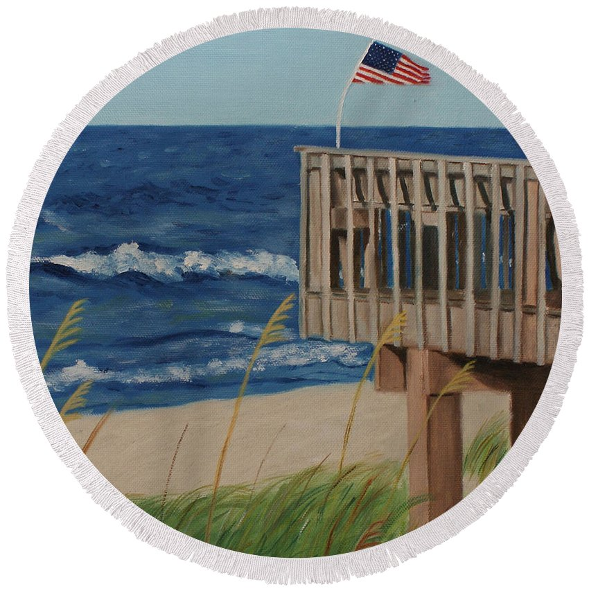 Coastal Round Beach Towel featuring the painting Colors On The Breeze by Jill Ciccone Pike