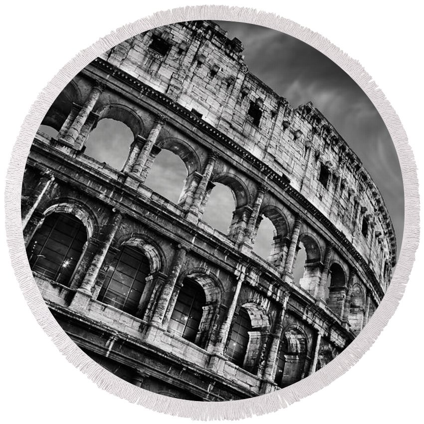 Colosseum Round Beach Towel featuring the photograph Colosseum by Rod McLean