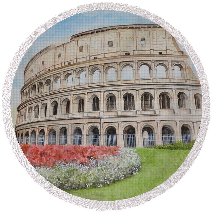 Colosseum Round Beach Towel featuring the painting Colosseum by Swati Singh