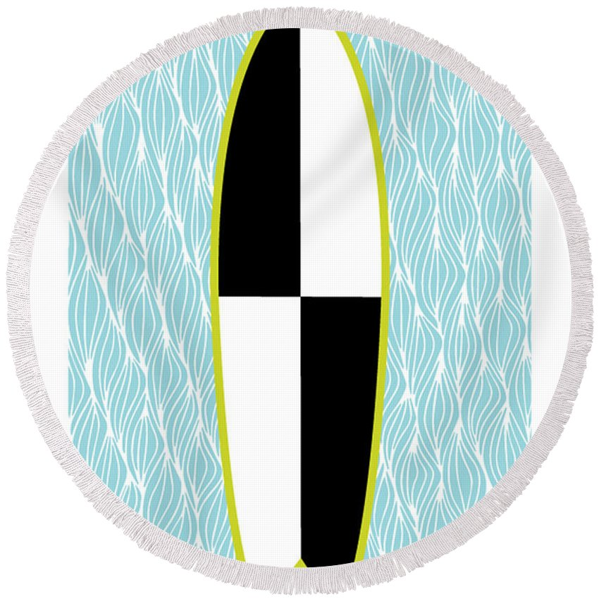 Susan Claire Round Beach Towel featuring the photograph Colour Block Surfboard by MGL Meiklejohn Graphics Licensing