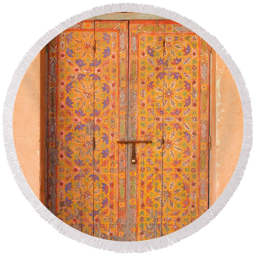 Door Round Beach Towel featuring the photograph Colourful Entrance Door Sale Rabat Morocco by Ralph A Ledergerber-Photography