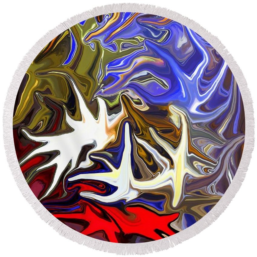 Abstract Round Beach Towel featuring the digital art Colours Melting 3 by Chris Butler