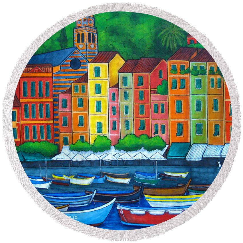Portofino Round Beach Towel featuring the painting Colours Of Portofino by Lisa Lorenz