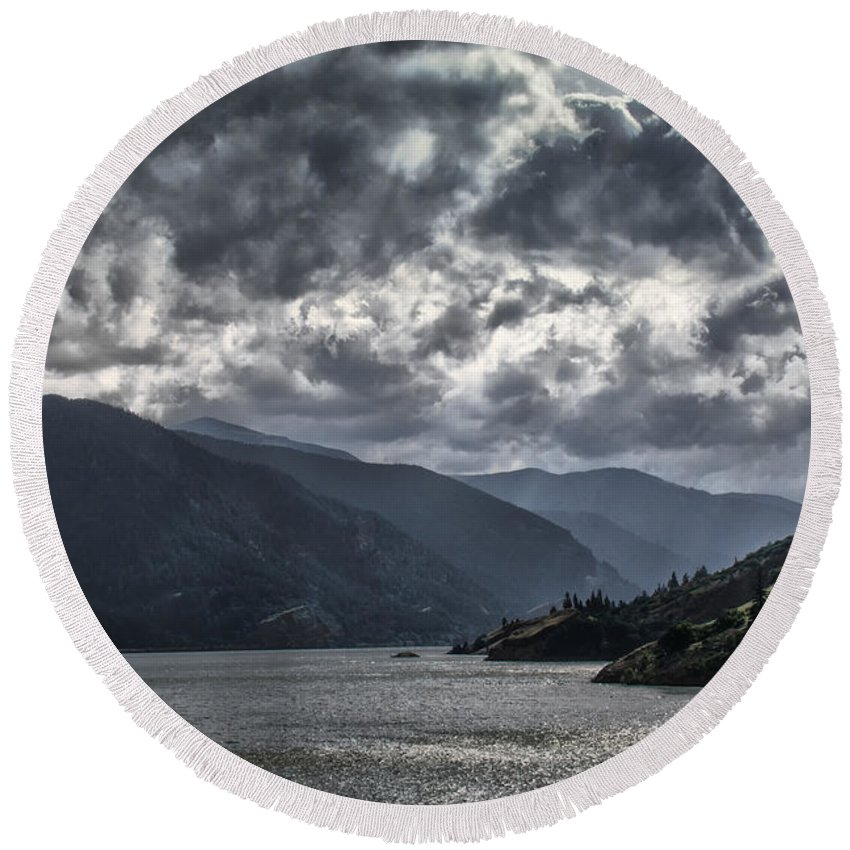 Clouds Round Beach Towel featuring the photograph Columbia River by Erika Fawcett