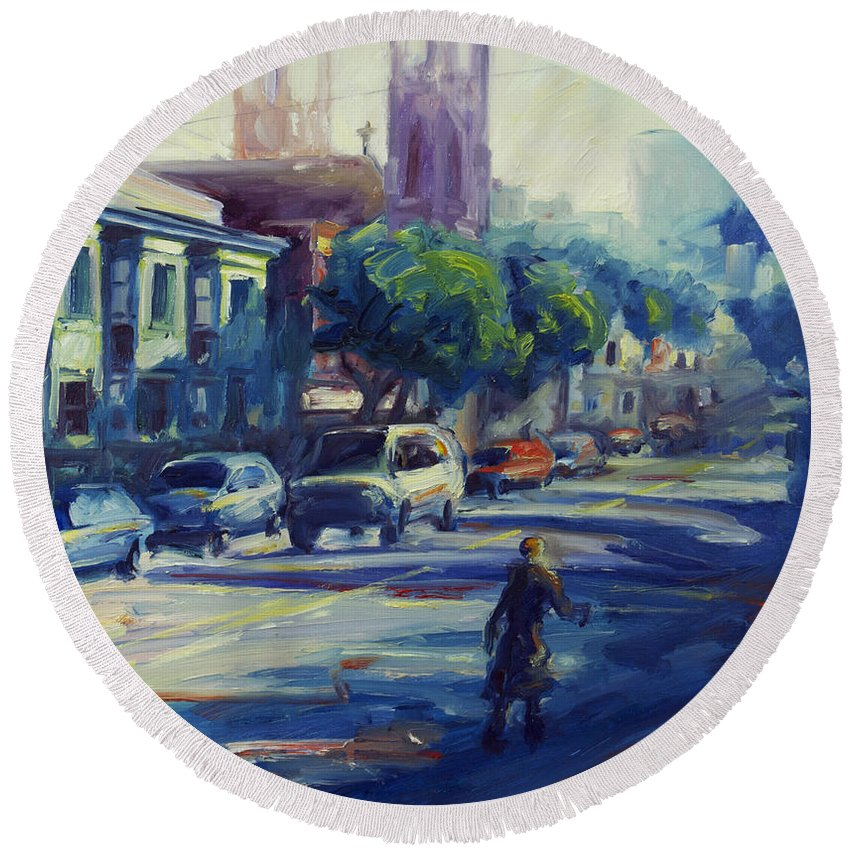 Cityscape Round Beach Towel featuring the painting Columbus Street by Rick Nederlof