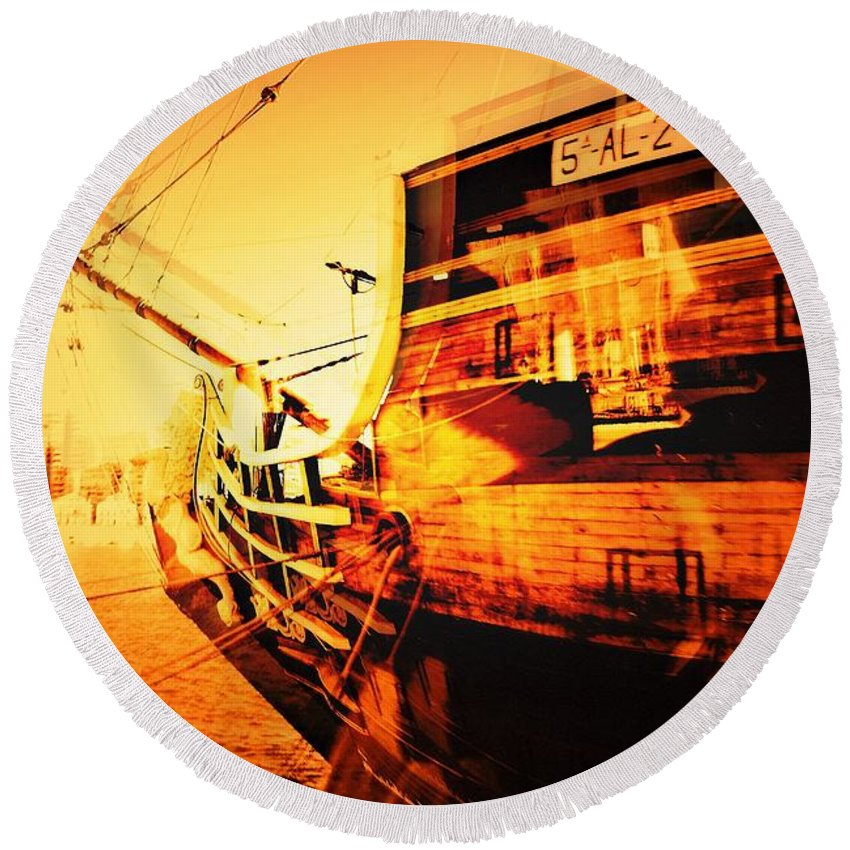 Christopher Columbus Round Beach Towel featuring the photograph Columbus Visions Malaga Spain by David Coleman