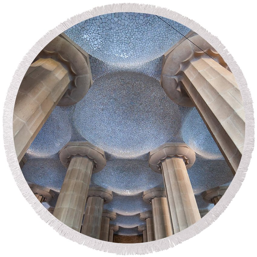 Park Round Beach Towel featuring the photograph Columns And Domes Of Hypostyle Room In Park Guell by Artur Bogacki