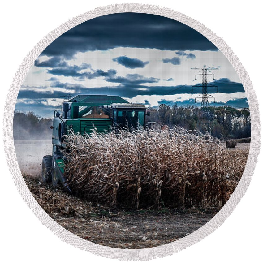 Combine Round Beach Towel featuring the photograph Combining Corn by Ronald Grogan
