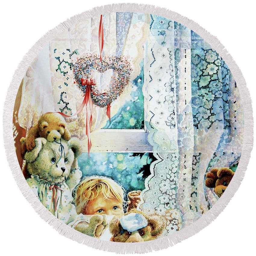 Teddy Bear Round Beach Towel featuring the painting Come Out And Play Teddy by Hanne Lore Koehler