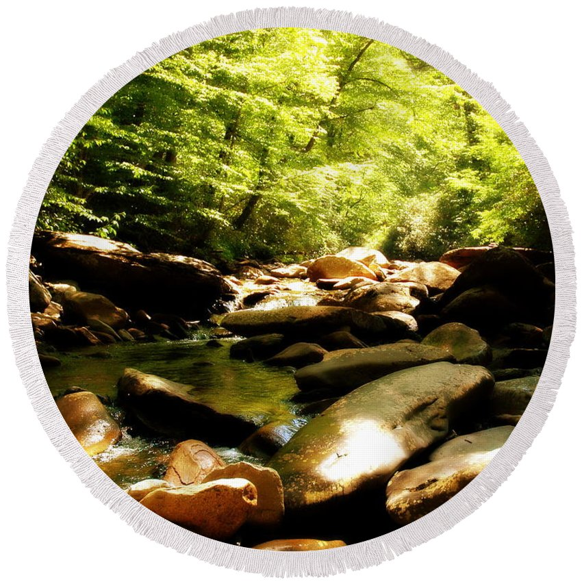 Babbling Brook Round Beach Towel featuring the photograph Come Sit A Spell by Roe Rader