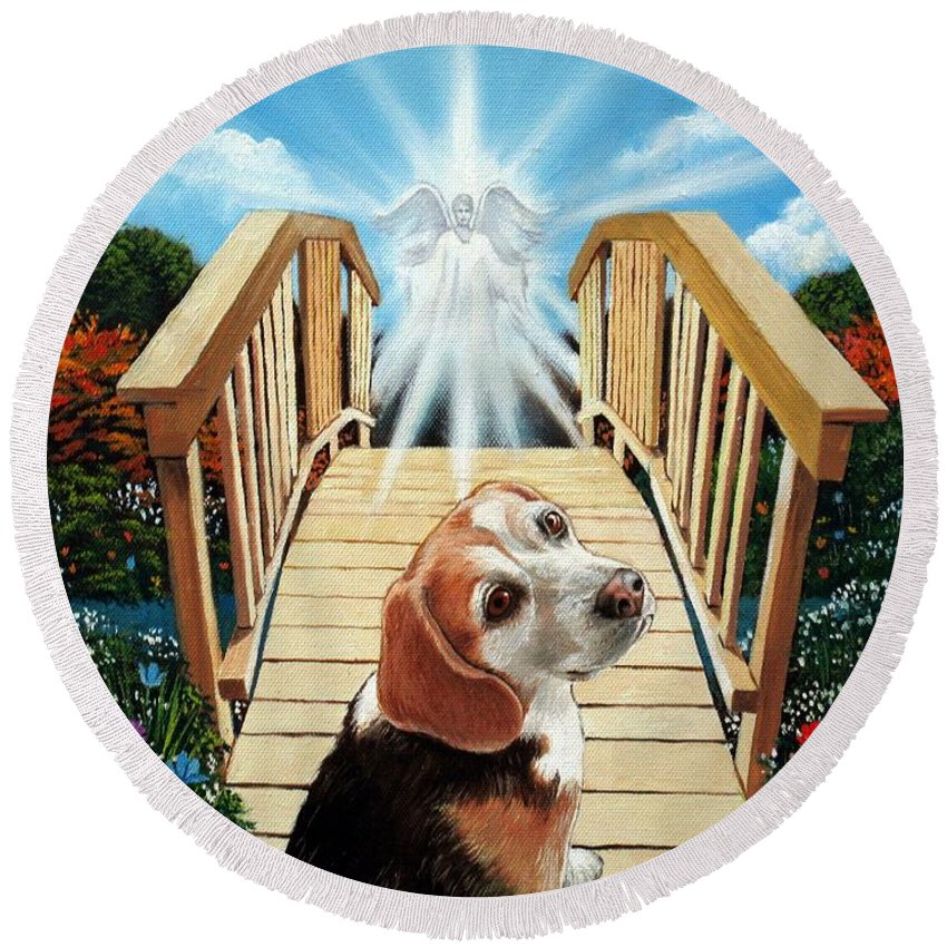 Angel Round Beach Towel featuring the painting Come Walk With Me Over The Rainbow Bridge by Christopher Shellhammer