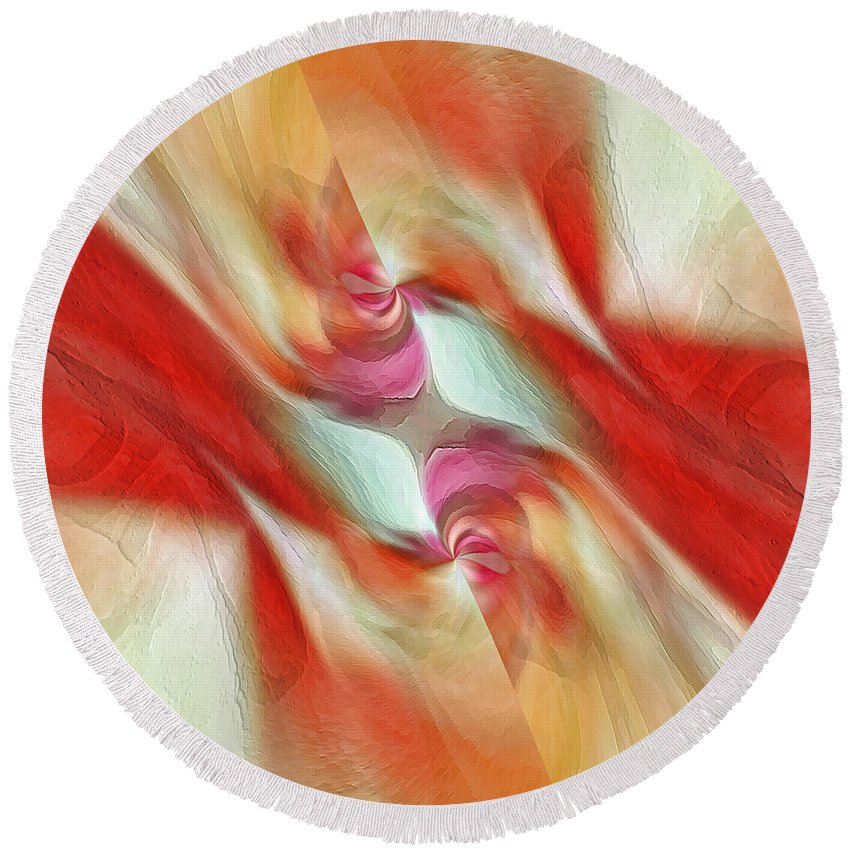 Red Round Beach Towel featuring the digital art Comfort by Margie Chapman
