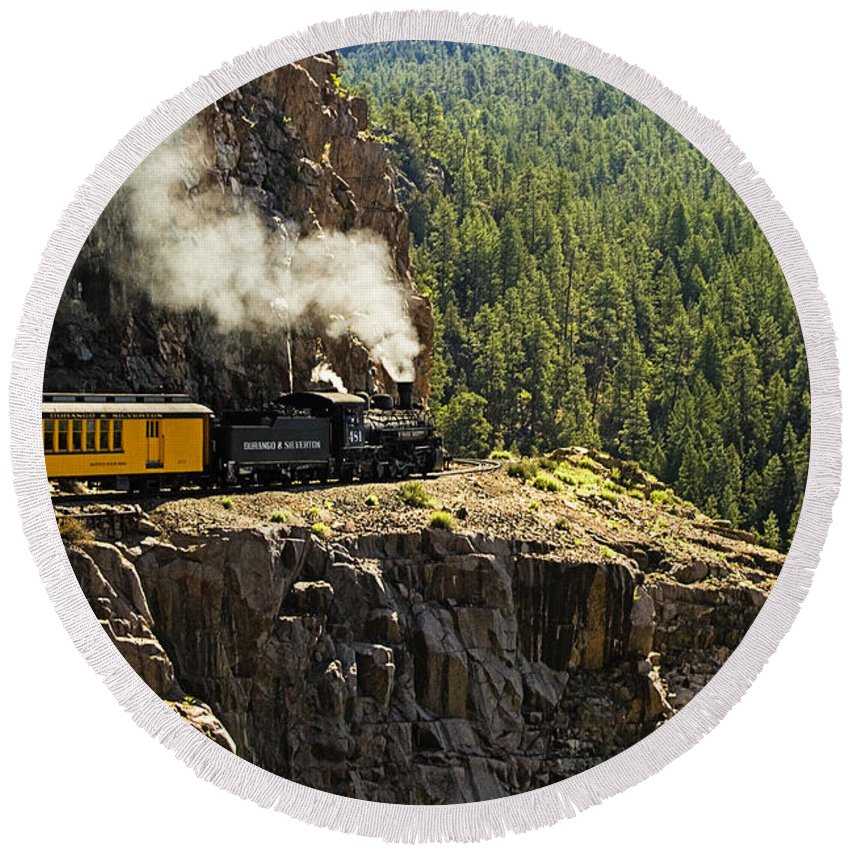 Train Round Beach Towel featuring the photograph Coming Around The Bend by Scott Pellegrin