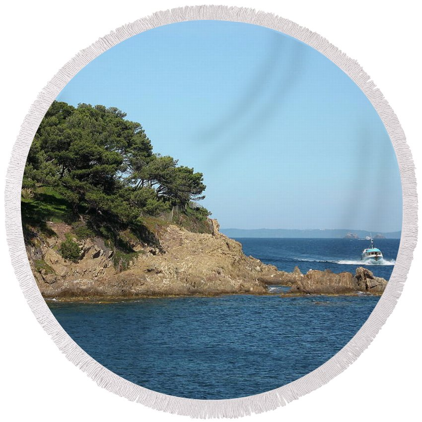 Fishing Boat Round Beach Towel featuring the photograph Coming Back by Christiane Schulze Art And Photography