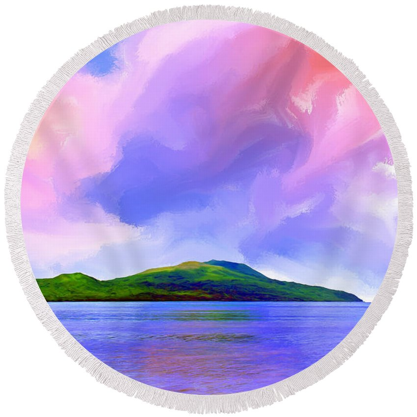 Ocean Round Beach Towel featuring the painting Coming Home by Dominic Piperata