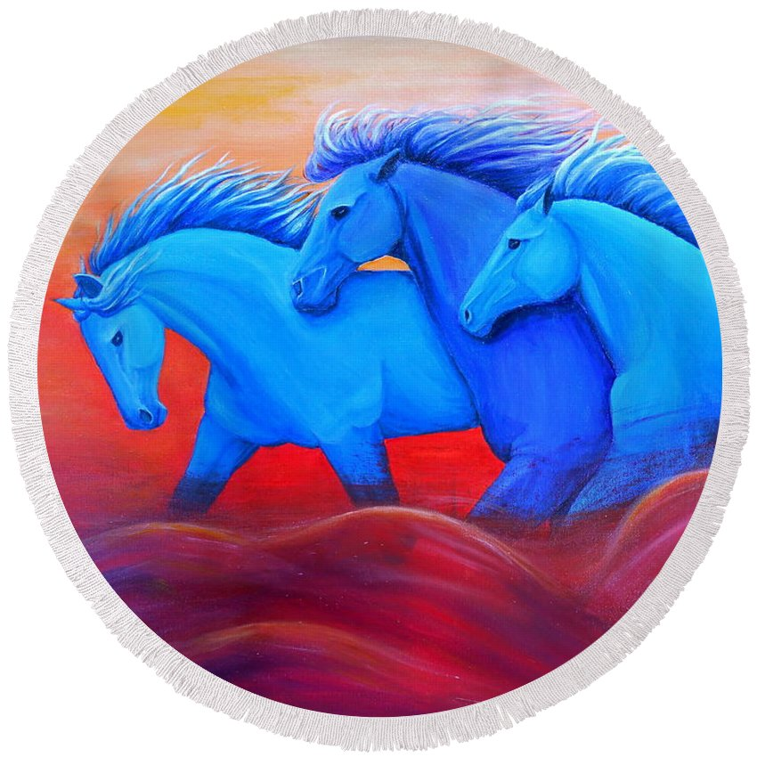 Running Horses Art Round Beach Towel featuring the painting Coming Through The Storm by Nancy Q Studio