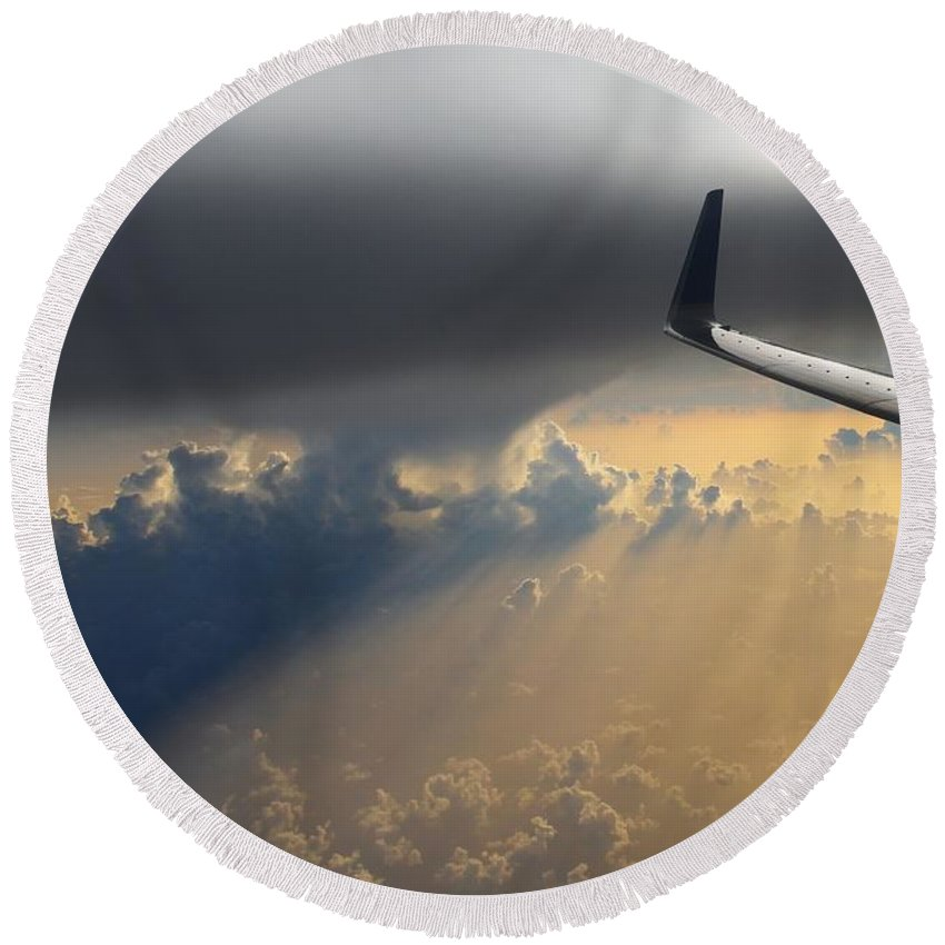 Airplane Round Beach Towel featuring the photograph Coming Thru The Storm by Bob Hislop