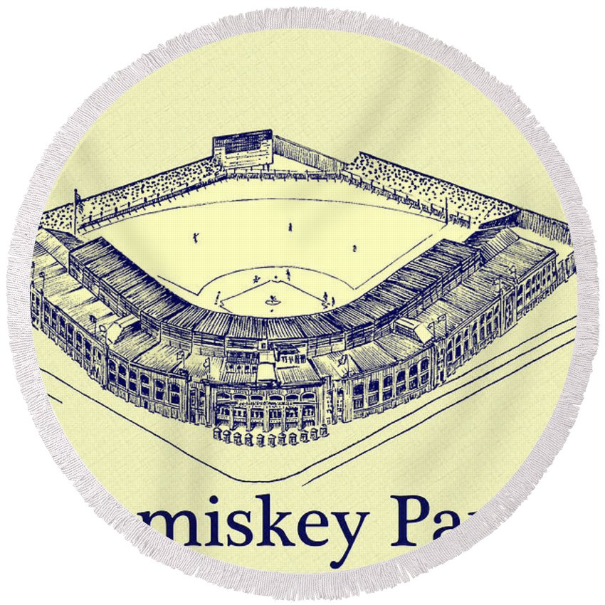 Comiskey Park 1910 Round Beach Towel featuring the drawing Comiskey Park 1910 by Bill Cannon