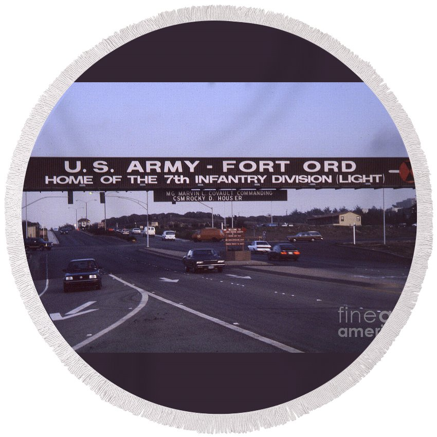 Commander Round Beach Towel featuring the photograph Fort Ord Commander Major General Marvin L. Covault 7th Infantry Division 1992 by California Views Mr Pat Hathaway Archives