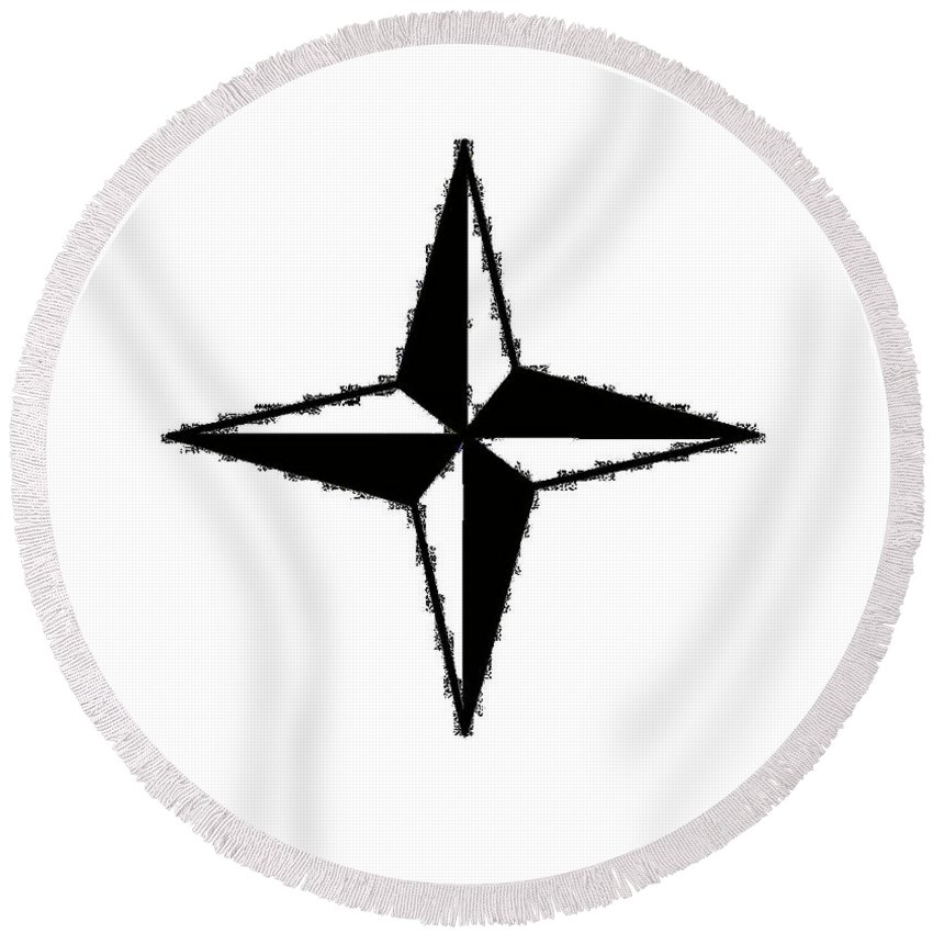 Compass Round Beach Towel featuring the digital art Compass Star by Frederick Holiday