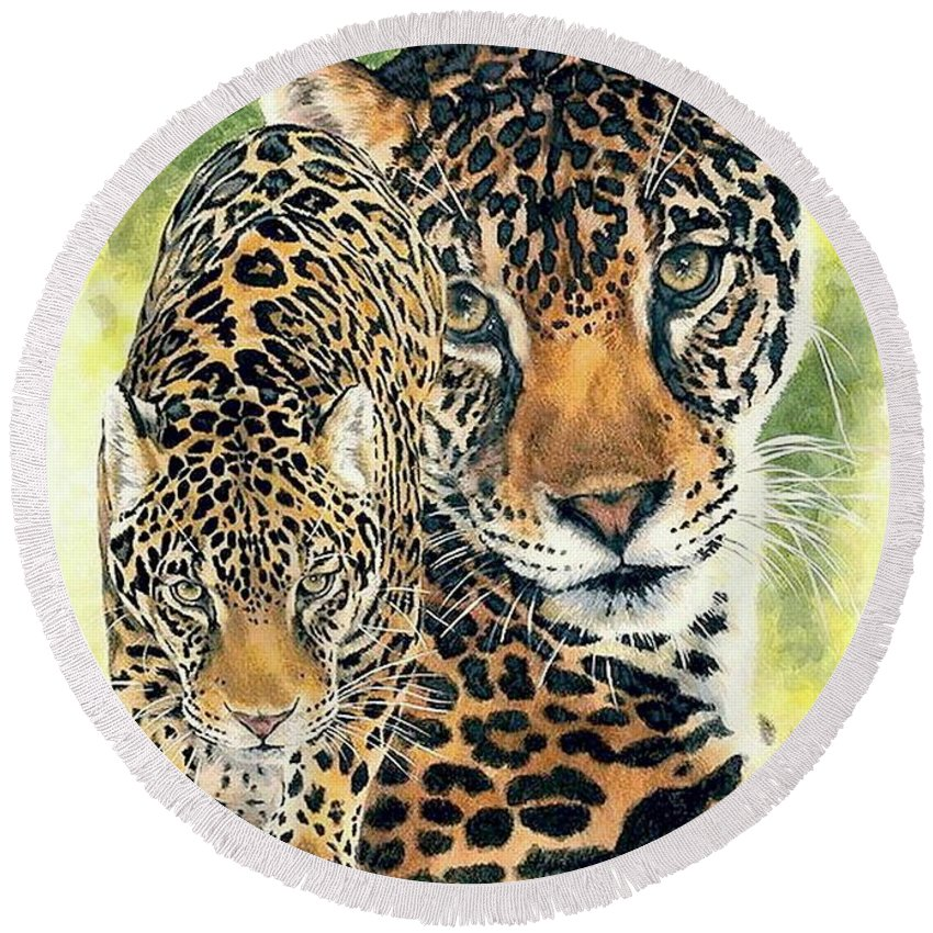 Jaguar Round Beach Towel featuring the mixed media Compelling by Barbara Keith