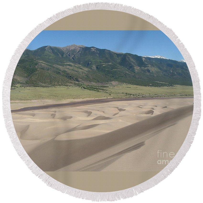 Great Dunes Photographs Canvas Prints Colorado Rocky Mountain Desert Range Landscape Round Beach Towel featuring the photograph Composition Divide by Joshua Bales