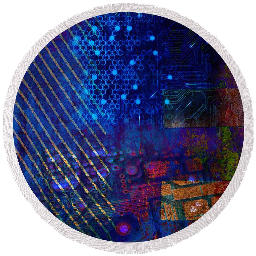 Digital Round Beach Towel featuring the digital art Compute Abstract by Mary Clanahan