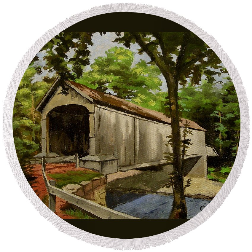 Christine Hopkins Round Beach Towel featuring the painting Comstock Covered Bridge East Hamptom Connecticut by Christine Hopkins